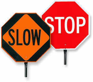 Flagman's Hand Paddle, Stop/Slow
