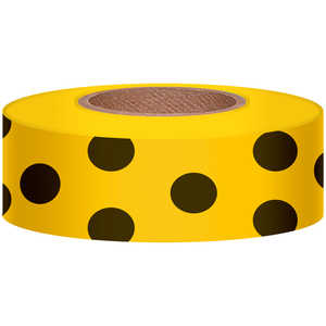 "Polka-Dot Vinyl Flagging, Black Dot on Yellow, 1-3/16"" x 300'"