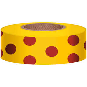 "Polka-Dot Vinyl Flagging, Red Dot on Yellow, 1-3/16"" x 300'"