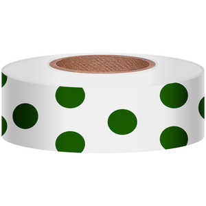 "Polka-Dot Vinyl Flagging, Green Dot on White, 1-3/16"" x 300'"