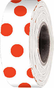 "Polka-Dot Vinyl Flagging, Red Dot on White, 1-3/16"" x 300'"