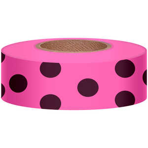 "Polka-Dot Vinyl Flagging, Black Dot on Pink Glo, 1-3/16"" x 150'"