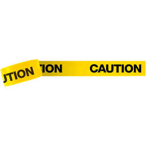 "3-Inch ""CAUTION"" Barricade Tape, Black Lettering, 1,000' Roll"