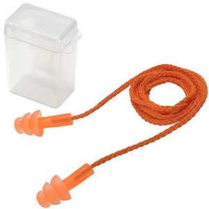 Elvex Trisonic Corded Earplugs With Case, Box of 50