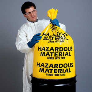 "Hazardous Material Disposal Bags, 38""W x 65""L, 6 mil"
