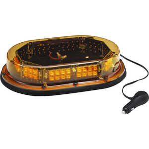 North American Signal Economy Magnetic Mount Low-Profile LED Nano Mini Light Bar, Amber/Amber Dome