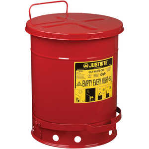Justrite Oily Waste Can, 10-Gallon
