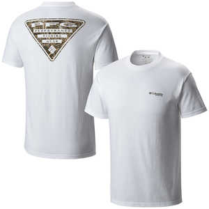 Columbia PFG Triangle Camo Short Sleeve Tee, White, Small