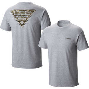 Columbia PFG Triangle Camo Short Sleeve Tee, Grey Heather, Small