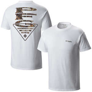 Columbia PFG Vertical Triangle Camo Short Sleeve Tee, White, Small