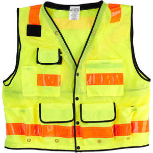 JIM-GEM Deluxe 12-Pocket Class 2 Mesh Surveyor's Vest, Lime, Small
