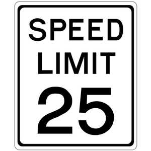 "18"" x 24"" Speed Limit 25 Sign"