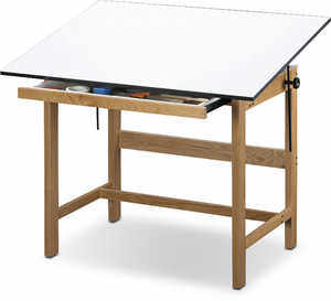 "Alvin Titan Solid Oak Drafting Table with 37-1/2"" x 60"" Top"