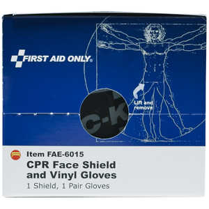 SmartCompliance First Aid Cabinet Refill, CPR Face Shield and Vinyl Gloves