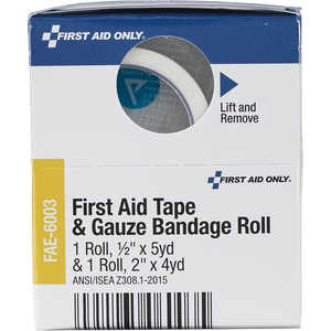 "SmartCompliance First Aid Cabinet Refill, 1/2"" x 5 yard First Aid Tape and 2"" x 4 yard Gauze Roll"