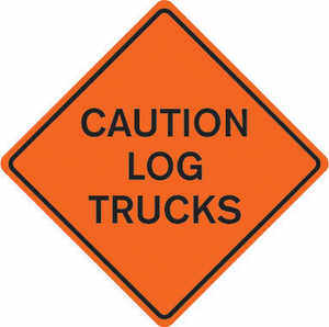 "36"" x 36"" Mesh Sign, ""CAUTION LOG TRUCKS"""