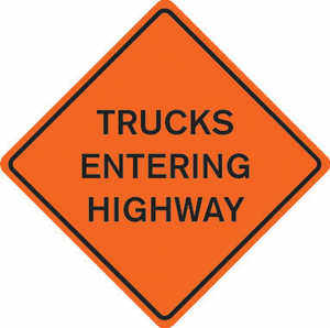 "48"" x 48"" Mesh Sign, ""TRUCKS ENTERING HIGHWAY"""