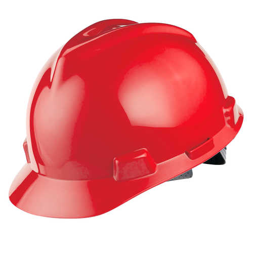 MSA V-Gard Slotted Cap w/Staz-On Susp., Red