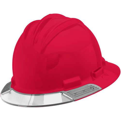 Bullard AboveView Hard Hat, Red Hat with Clear Visor