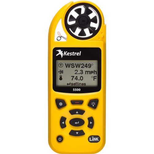 Kestrel 5500 Environmental Meter with LiNK and Vane Mount Yellow