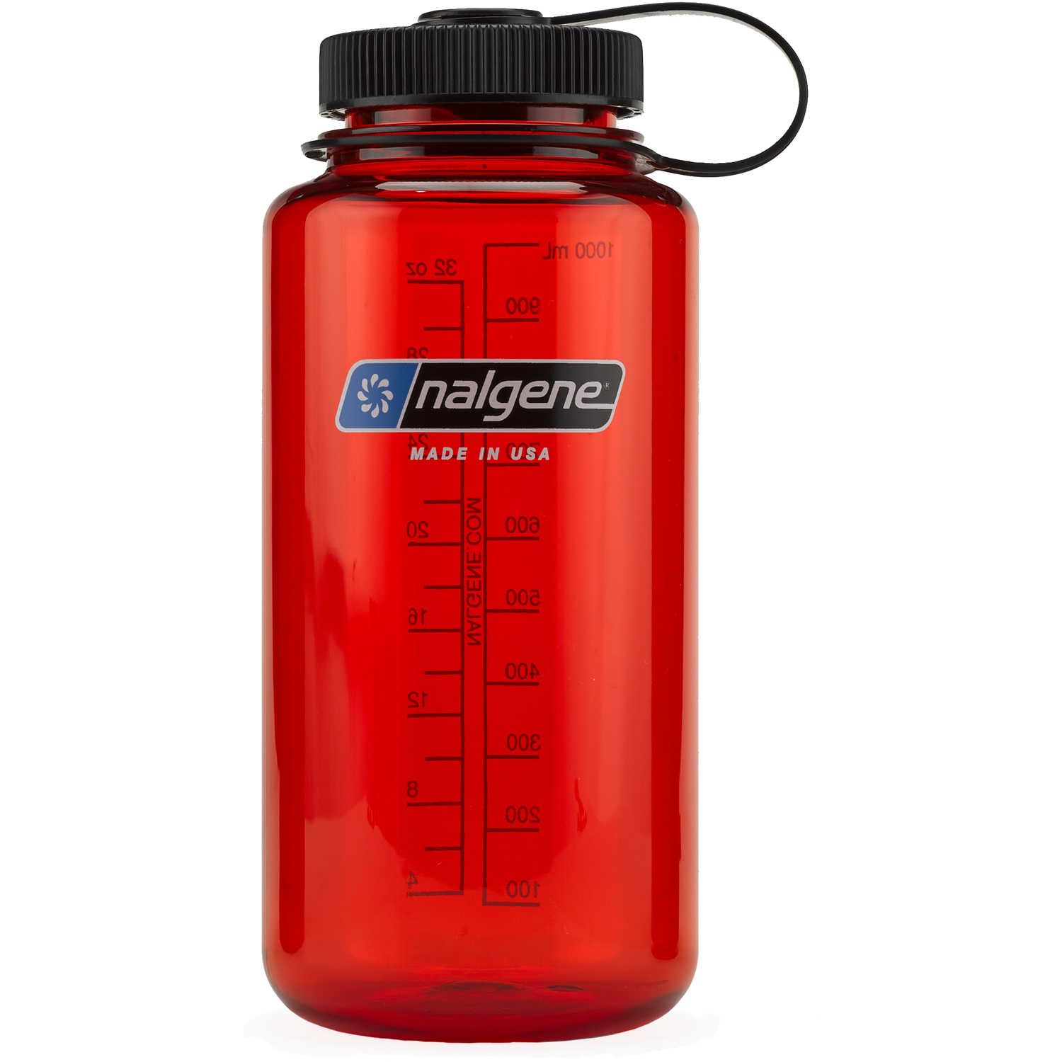 Nalgene Wide Mouth Water Bottle in Christmas Colors Red w// Green Cap 32 oz.