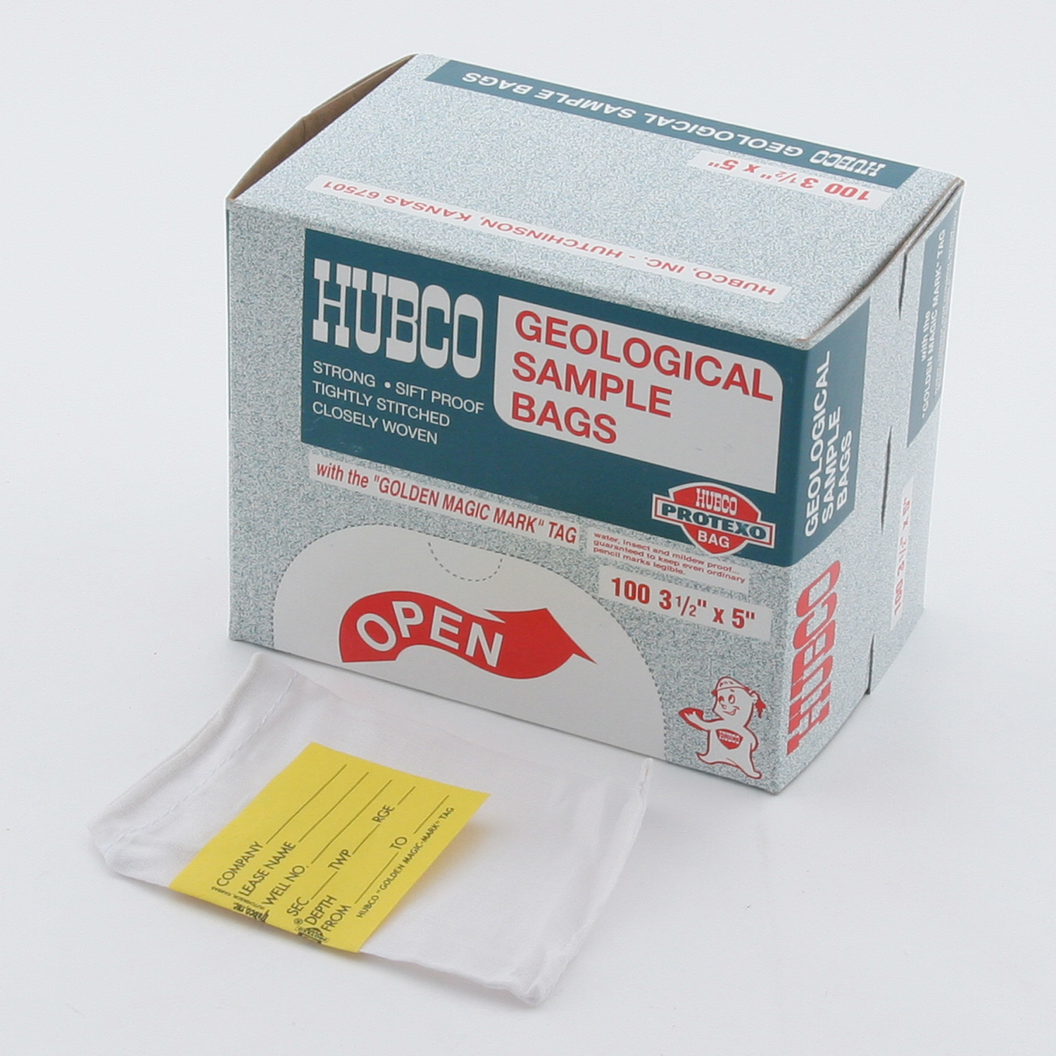 "Hubco cloth soil sample bags 3-1/2"" x 5"" box of 100 