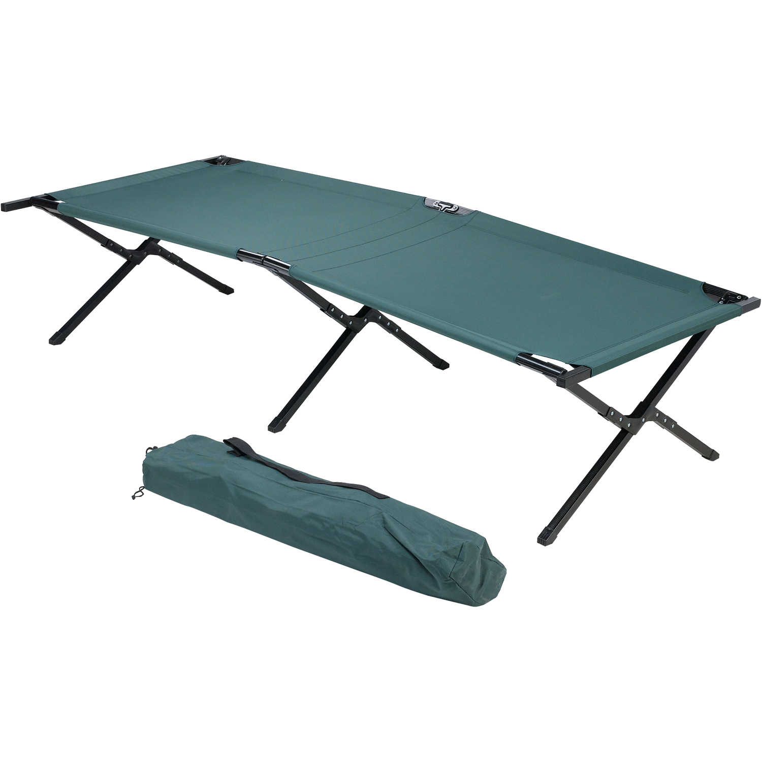 Folding Camping Camp Bed Heavy Duty 4 Steel Legs 600D Polyester Cover Green New